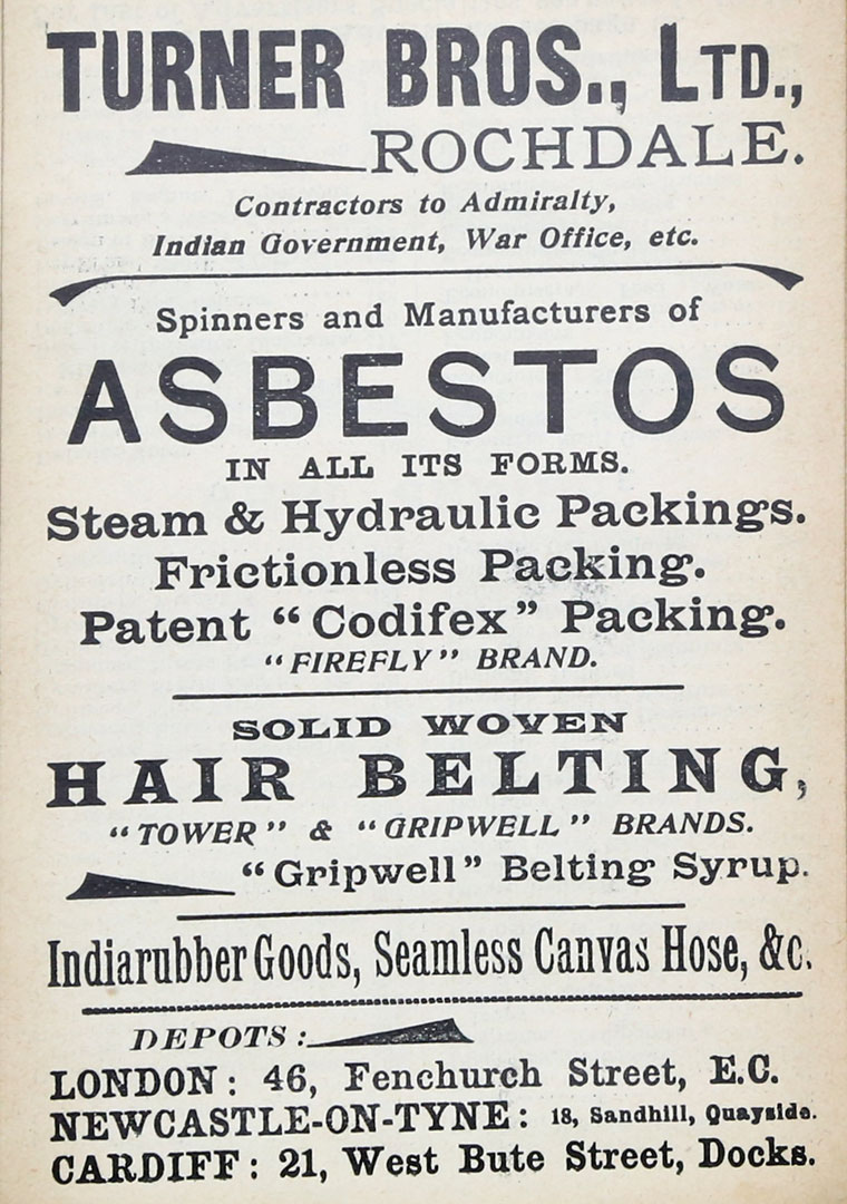 Turner Brothers Asbestos Old Advert