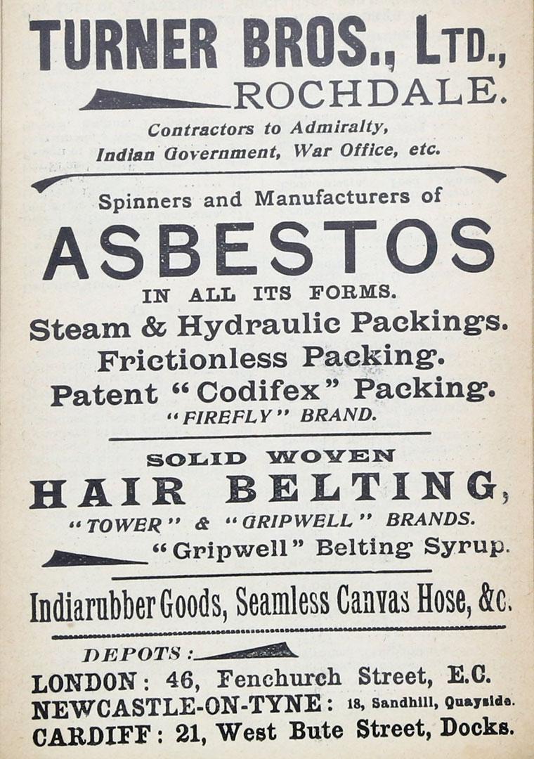 Turner Brothers Asbestos Old Advert